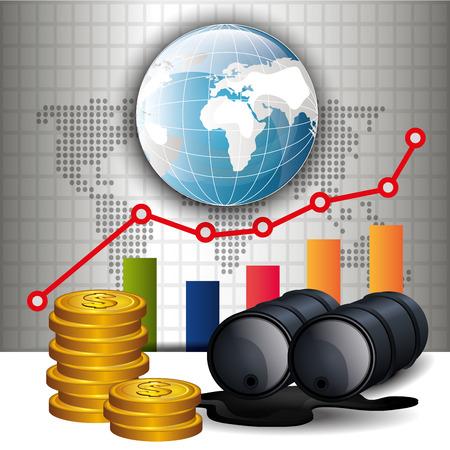 barril de petróleo: Los precios del petróleo diseño infografía, ilustración vectorial eps10. Vectores