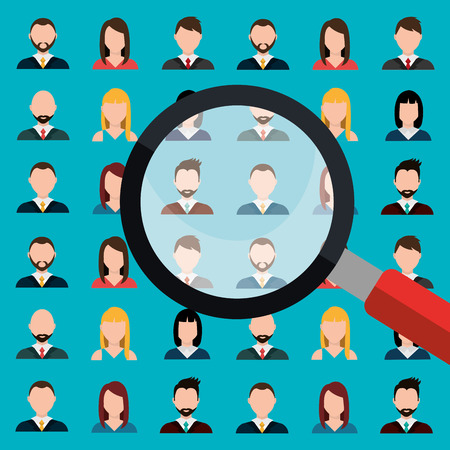 job opportunity: Find person for job opportunity, vector illustration design