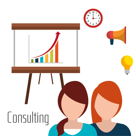womens work: Business consulting with icons design, vector graphic