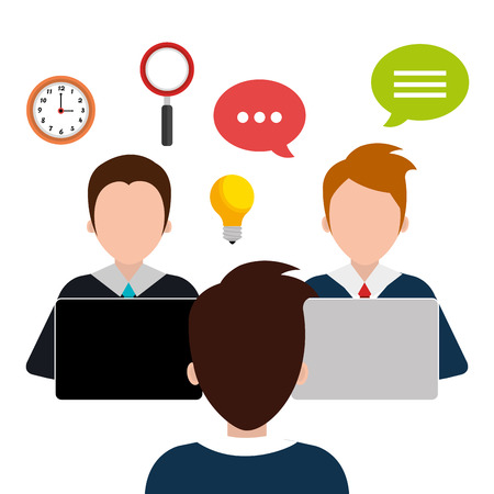 time sharing: Business consulting with icons design, vector graphic