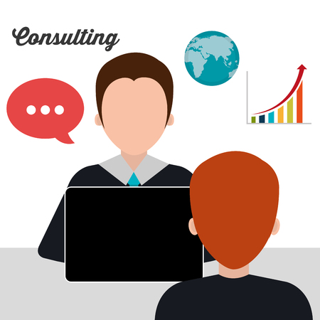 consulting: Business consulting with icons design, vector graphic