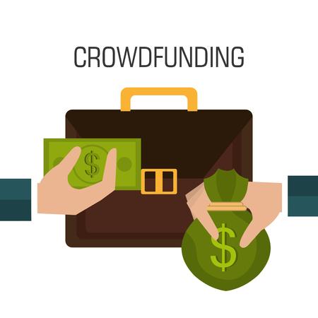 Crowdfunding diseño de iconos, ilustración vectorial eps10 gráfico.