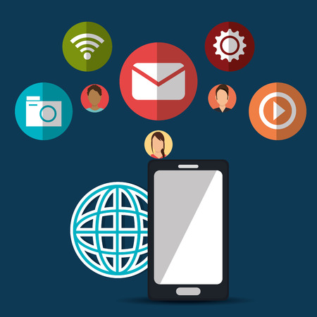 socializing: Social media and networking design, vector illustration. Vectores