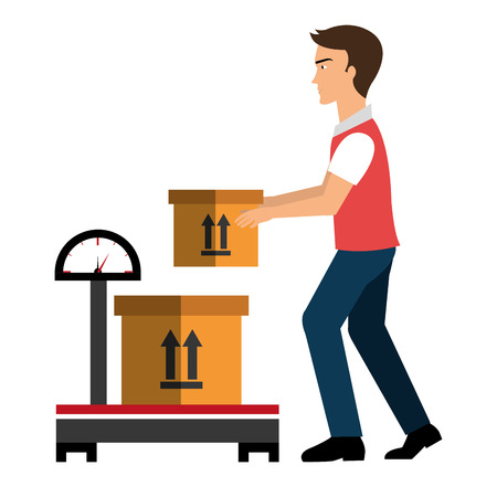 box weight: Delivery and logistics business graphic design, vector illustration. Illustration