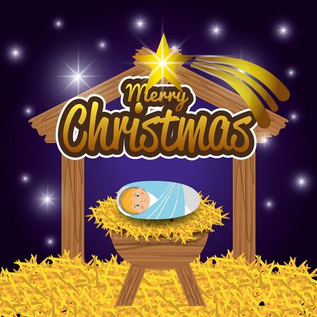 nativety: Merry christmas cartoons, vector illustration graphic eps10