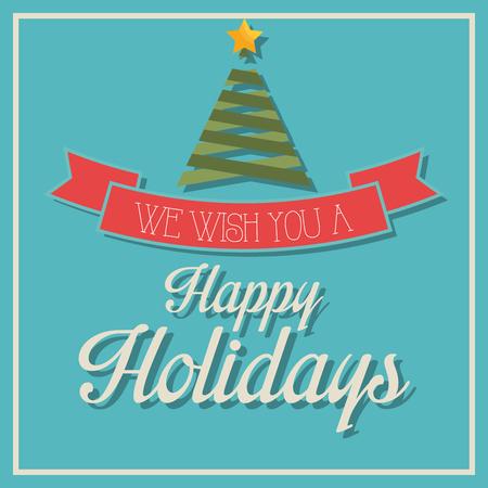 Frohe Feiertage Weihnachtszeit Design, Vektor-Grafik. Standard-Bild - 46851043