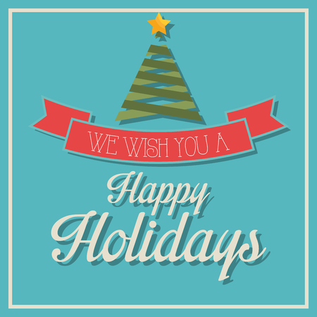 holidays: Happy holidays christmas season design, vector graphic.