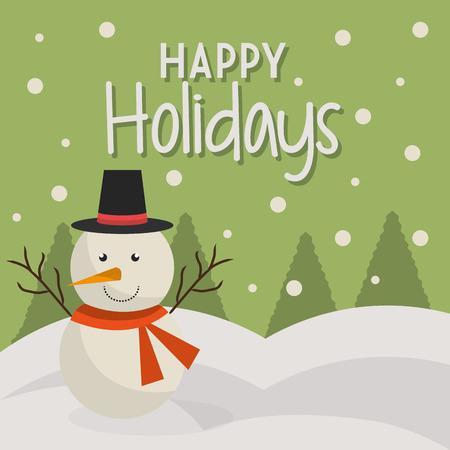 즐거운 휴일 크리스마스 시즌 디자인, 벡터 그래픽. 일러스트