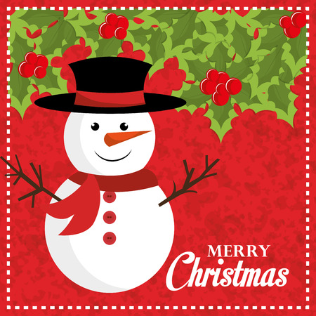 vector cartoons: Merry christmas colorful card design with cartoons, vector illustration graphic