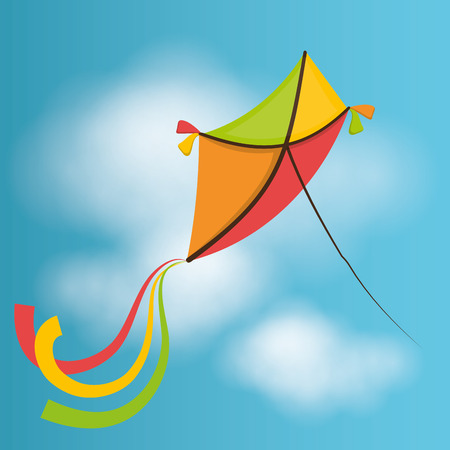 flying kite: Kite flying in cloudscapes design, vector illustration graphic Illustration
