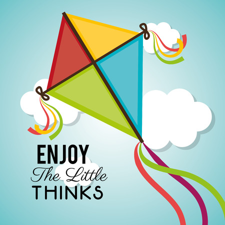 cloudscapes: Kite flying in cloudscapes design, vector illustration graphic Illustration