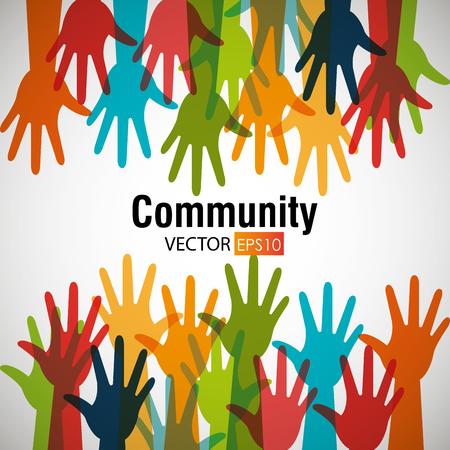 juntos: Comunidad y la gente de diseño gráfico, ilustración vectorial. Vectores