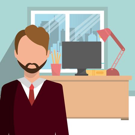 interior design: Office interior workplace design, vector illustration graphic eps10. Illustration