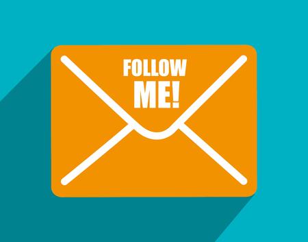 socializando: Follow me social trendy graphic design, vector illustration