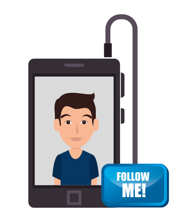 me: Follow me social trendy graphic design, vector illustration