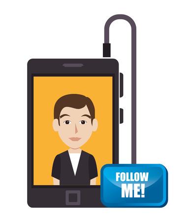 follow me: Follow me social trendy graphic design, vector illustration