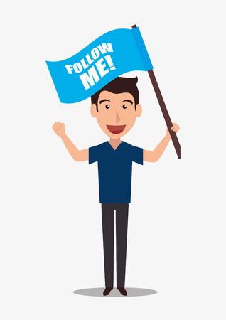 teamwork cartoon: Follow me social trendy graphic design, vector illustration