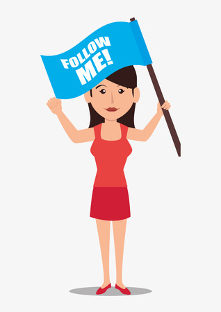proposition: Follow me social trendy graphic design, vector illustration