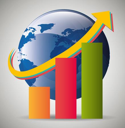 prosperidad: La economía global, los negocios y el diseño gráfico de dinero, ilustración vectorial. Vectores