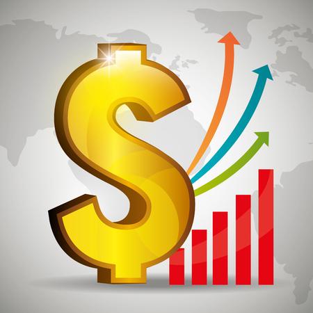 signo de pesos: La economía global, los negocios y el diseño gráfico de dinero, ilustración vectorial. Vectores
