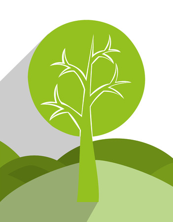walk through: tree and nature ecology graphic design, vector illustration