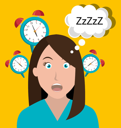 waking up: Woman waking up cartoon graphic design over yellow background