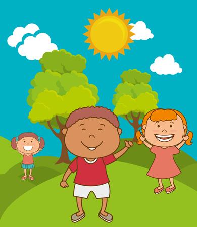 alegria: Diseño feliz de los niños de dibujos animados sobre paisaje colorido Vectores