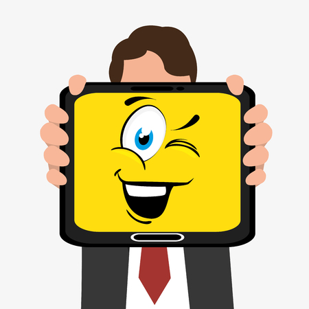 mouth screen: Funny emoticon cartoon design, vector illustration graphic. Illustration