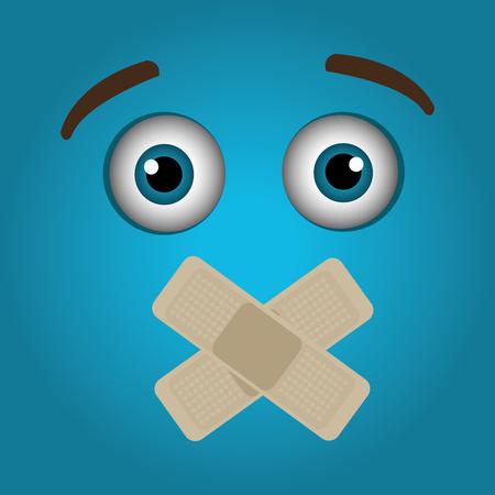 shut up: Funny emoticon cartoon design, vector illustration graphic. Illustration