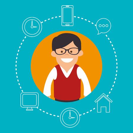 socializing: Social media cartoon graphic design, vector illustration