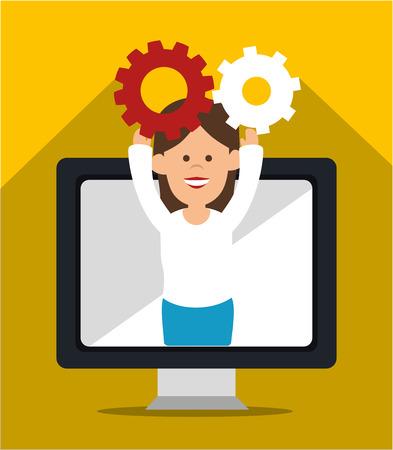 electronic organizer: Social media cartoon graphic design, vector illustration
