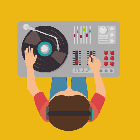 dj turntable: Music dj party theme design, vector illustration eps 10