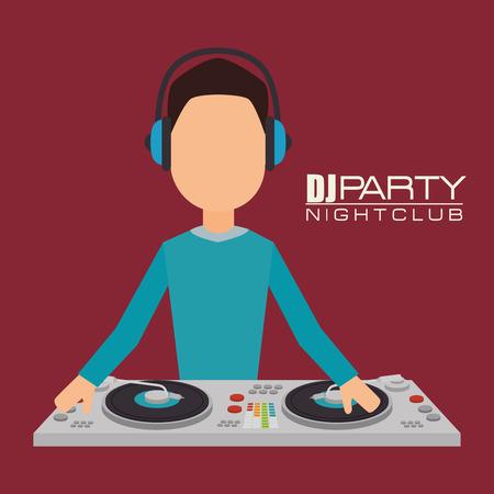 party dj: Dj Música tema de diseño partido, ilustración vectorial eps 10 Vectores