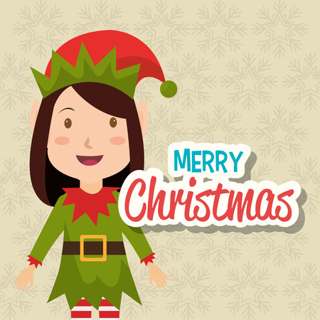 hapiness: Merry christmas colorful card design, vector illustration graphic.