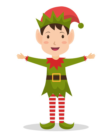 elf: Merry christmas colorful card design, vector illustration graphic.