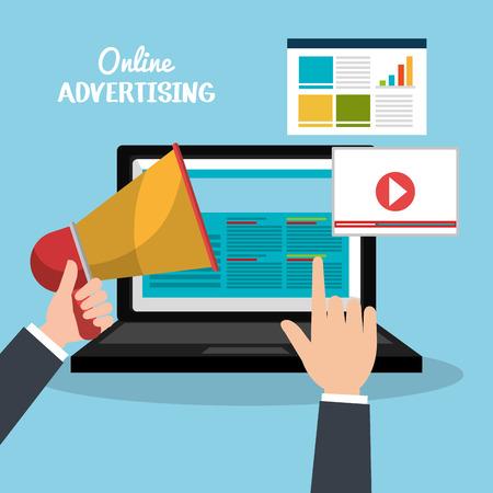 Online advertising and digital marketing, vector illustration eps10.
