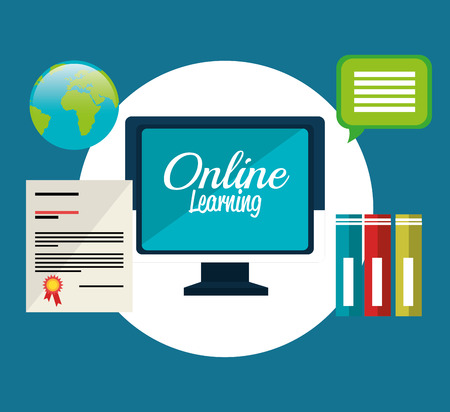 Online learning education graphic design, vector illustration. 矢量图像