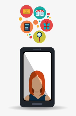 email icons: Digital marketing and online sales, vector illustration graphic