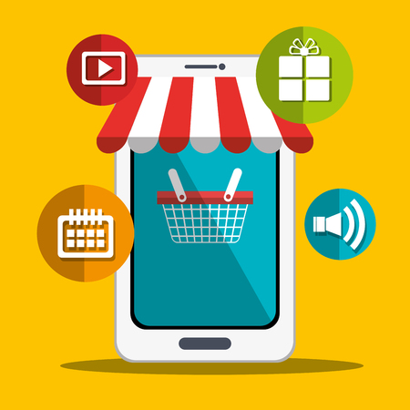 git: Digital marketing and online sales, vector illustration graphic