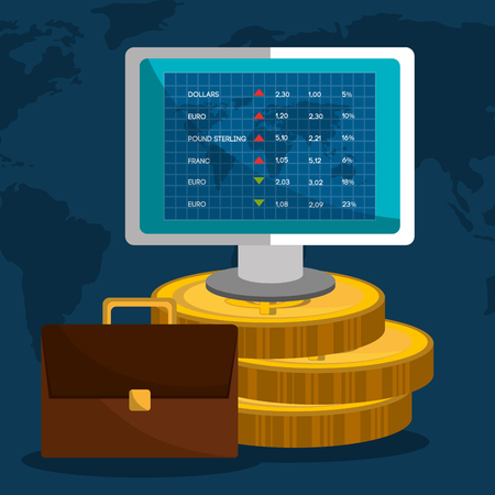 stock exchange brokers: Stock market with statistics graphic design, vector illustration eps10 Illustration