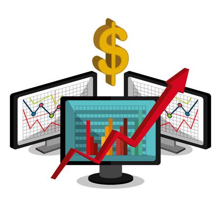 stock broker: Stock market with statistics graphic design, vector illustration eps10 Illustration