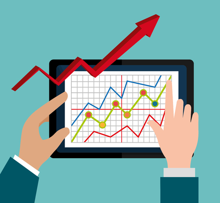 stock price: Stock market with statistics graphic design, vector illustration eps10 Illustration