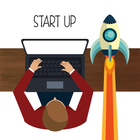 founding: Start up business company graphic design, vector illustration