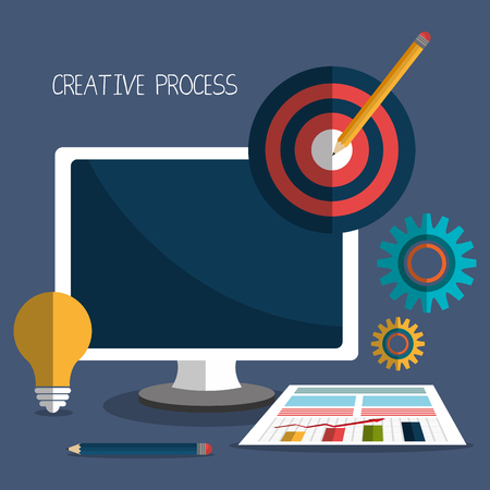 design process: Creative process design with colorful icons, vector illustration eps 10 Illustration