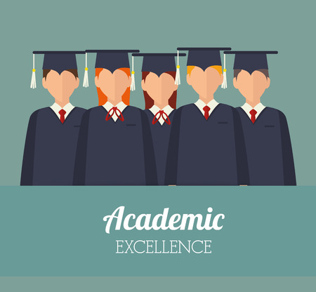 Academic education and elearning graphic design, vector illustration