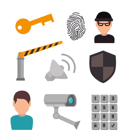 private security: Surveillance security system graphic design, vector illustration eps10