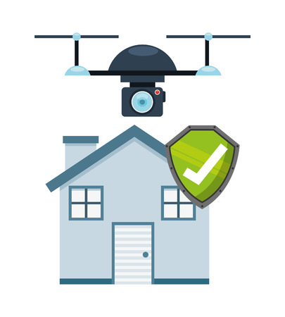robot with shield: drone technology design, vector illustration eps10 graphic Illustration