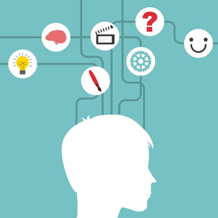 person thinking: different thoughts design, vector illustration eps10 graphic