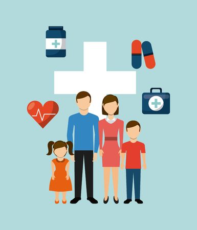 heart health: family health care design, vector illustration eps10 graphic