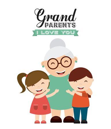행복 조부모 날 디자인, 벡터 그림 eps10 그래픽